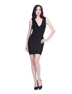 Cocktail Party Dress - Black / Watermelon / Daffodil Petite Sheath/Column V-neck Short/Mini Nylon Taffeta