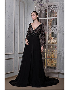 Formal Evening Dress A-line V-neck Sweep/Brush Train Chiffon