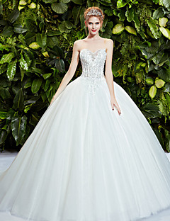 Ball Gown Wedding Dress - White Sweep/Brush Train Strapless Lace/Tulle
