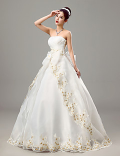 Ball Gown Wedding Dress - White Floor-length Strapless Stretch Satin