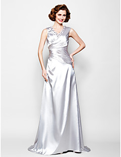 Lanting A-line Plus Sizes / Petite Mother of the Bride Dress - Silver Sweep/Brush Train Sleeveless Stretch Satin