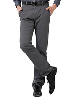 U-Shark Men's  Business Casual&Fashion Cotton  Straight Pants with  Small Check Smoky Grayi Color