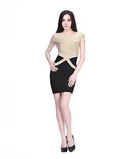 Cocktail Party Dress Sheath/Column Bateau Short/Mini Nylon Taffeta Bandage Dress
