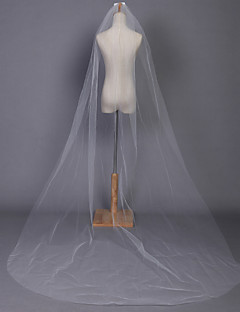 Wedding Veil One-tier Chapel Veils Pencil Edge 118.11 in (300cm) Tulle White / Ivory