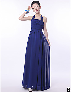 Floor-length Bridesmaid Dress A-line Halter / One Shoulder / Strapless / V-neck / Straps with