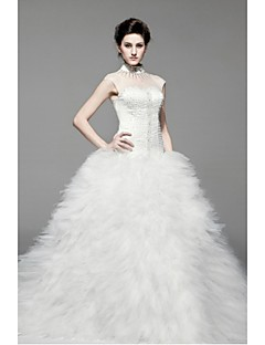 Princess Floor-length Wedding Dress -Halter Satin