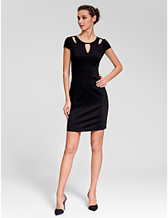 Cocktail Party Dress - Black Sheath/Column Jewel Short/Mini Polyester
