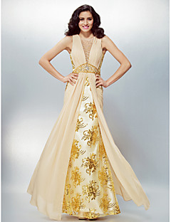 Formal Evening Dress - Champagne Plus Sizes / Petite A-line Jewel Floor-length Chiffon / Lace