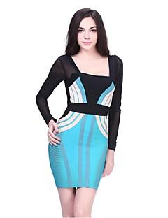 Cocktail Party Dress - Multi-color Sheath/Column Square Short/Mini Lace / Spandex / Rayon / Nylon Taffeta