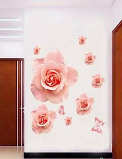Wandaufkleber Wandtattoos Stil der romantischen rosa Rose Blume PVC-Wandaufkleber