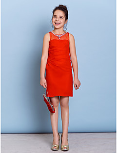 Knee-length Chiffon Junior Bridesmaid Dress Sheath / Column Jewel with Beading / Crystal Detailing