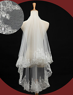 One-tier - Lace Applique Edge - Oval - Elbow Veils ( Ivory , Embroidery/Lovertje )