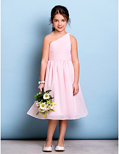 Knee-length Chiffon Junior Bridesmaid Dress A-line One Shoulder with Draping / Side Draping / Ruching