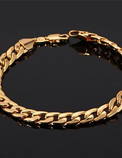 u7® mænds 18k chunky guld fyldt figaro cubanske kæde armbånd 7mm 21cm smykker