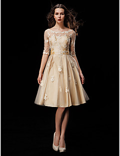 Lanting Bride® A-line Petite / Plus Sizes Wedding Dress Wedding Dresses in Color Knee-length Scoop Taffeta / Tulle withAppliques /
