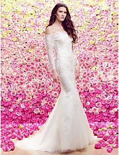 Lanting Trumpet/Mermaid Wedding Dress - Ivory Sweep/Brush Train Bateau Lace / Tulle