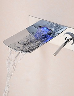 Bathroom Chrome Finish Wall Mounted LED Light Waterfall Basin Faucet