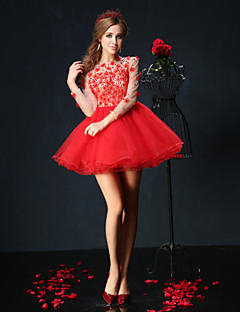 Homecoming Cocktail Party Dress - Ruby Ball Gown Jewel Short/Mini Tulle