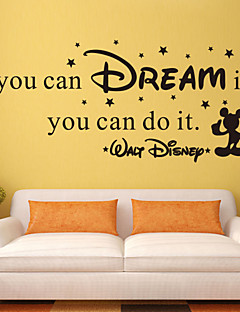 wall stickers wall decals stil, hvis du kan drømme det engelske ord&citerer pvc wall stickers