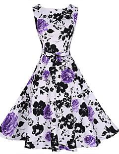 Women's Vintage Print Party Dress (Polyester)