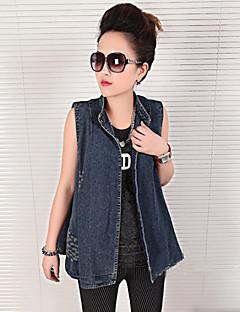 Damen Solide Jeansjacke,Ständer Sommer Ärmellos Standard Rüsche