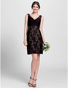LAN TING BRIDE Knee-length V-neck Bridesmaid Dress - Little Black Dress Sleeveless Lace