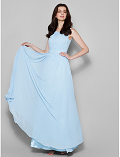 Lanting Bride® Floor-length Chiffon Bridesmaid Dress - Sheath / Column Scoop Plus Size / Petite with Draping