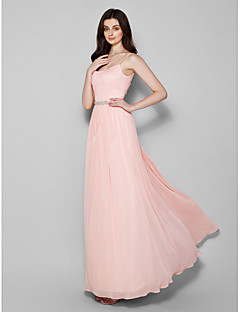 Floor-length Chiffon Bridesmaid Dress - Pearl Pink Plus Sizes / Petite Sheath/Column Spaghetti Straps
