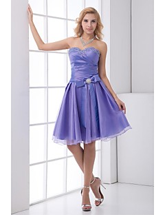 Cocktail Party Dress - Lavender Plus Sizes / Petite A-line Sweetheart Knee-length Satin / Tulle