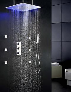 oscillant thermostat et précipitations bain douche ensemble, 20 pouces montés ceil sensibles tête de douche LED 3 couleurs de température