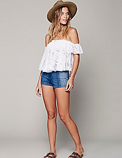 Women's Going out Sexy Summer Blouse,Solid Strapless Short Sleeve White Thin