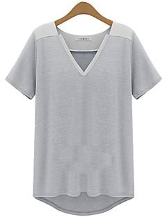 T-Shirt Da donna A V Manica corta Cotone