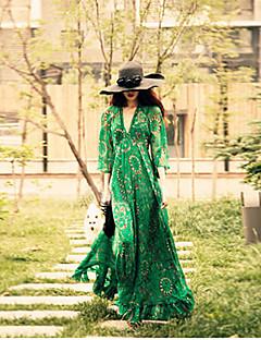 Mulheres Solto / Chifon / Swing Vestido,Férias Boho Estampado Decote em V Profundo Longo Manga Longa Verde Poliéster / Outros Verão
