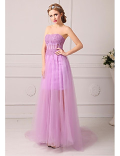 Formal Evening Dress A-line Strapless Court Train Tulle See-Through Blouses Evening Dress