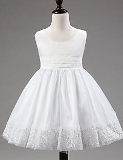 Vestido para Meninas das Flores - Baile Coquetel Sem Mangas Renda / Cetim / Tule / Poliéster