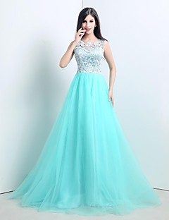 Formal Evening Dress A-line Bateau Sweep / Brush Train Tulle with