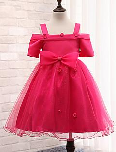 Princess Knee-length Flower Girl Dress - Cotton/Tulle/Polyester Short Sleeve