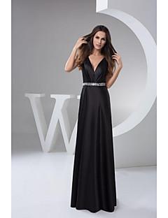 Formal Evening Dress A-line V-neck Floor-length Satin Long Prom Dresses
