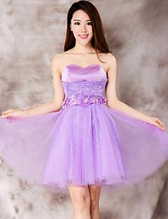 Robe - Violet Mode de bal Col en cœur Longueur mi cuisse Dentelle