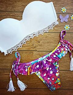 Bikinis Aux femmes Fleur Push-Up Bandeau Dentelle Spandex