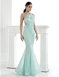 hjemkomst ts couture formell kjole - trompet / havfrue høy hals fotsid tyll