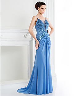 TS Couture Formal Evening Dress - A-line Spaghetti Straps Sweep/Brush Train Chiffon