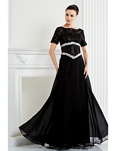 A-line Plus Sizes / Petite Mother of the Bride Dress - Black Floor-length Short Sleeve Chiffon / Lace