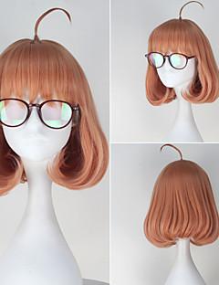 Kyokai no Kanata Mirai Kuriyama Short Curly Pink Color Cosplay Full Wig with Red Glass