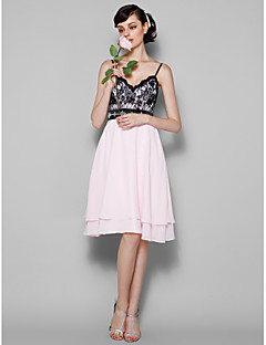 Knee-length Chiffon / Lace Bridesmaid Dress - Blushing Pink Plus Sizes / Petite A-line Spaghetti Straps