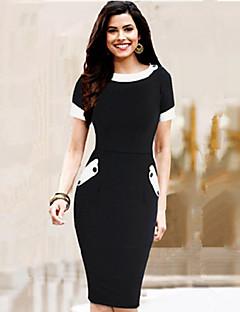 vrouwen vintage ronde hals knop jurk, katoen mengsels zwart ongedwongen / partij / werk