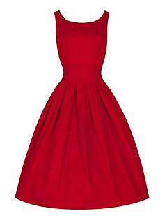 Mulheres Vestido Solto Vintage Sólido Altura dos Joelhos Decote Redondo Lã / Algodão