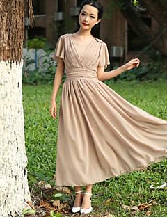TS Средней длины Платье TS , Вырез под горло , С короткими рукавами , Шифон