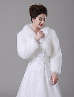 Wedding  Wraps / Fur Wraps / Fur Coats Coats/Jackets Long Sleeve Faux Fur Ivory