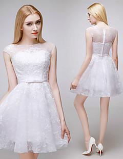 Hochzeitskleid - Rot (Die dargestellten Farben & Stile können je nach verwendetem Monitor variieren.)/Weiß Spitze - A-Linie - Kurz/Mini -